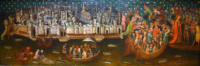 Martyre de Sainte-Ursule devant Cologne. Le tableau, peint vers 1411